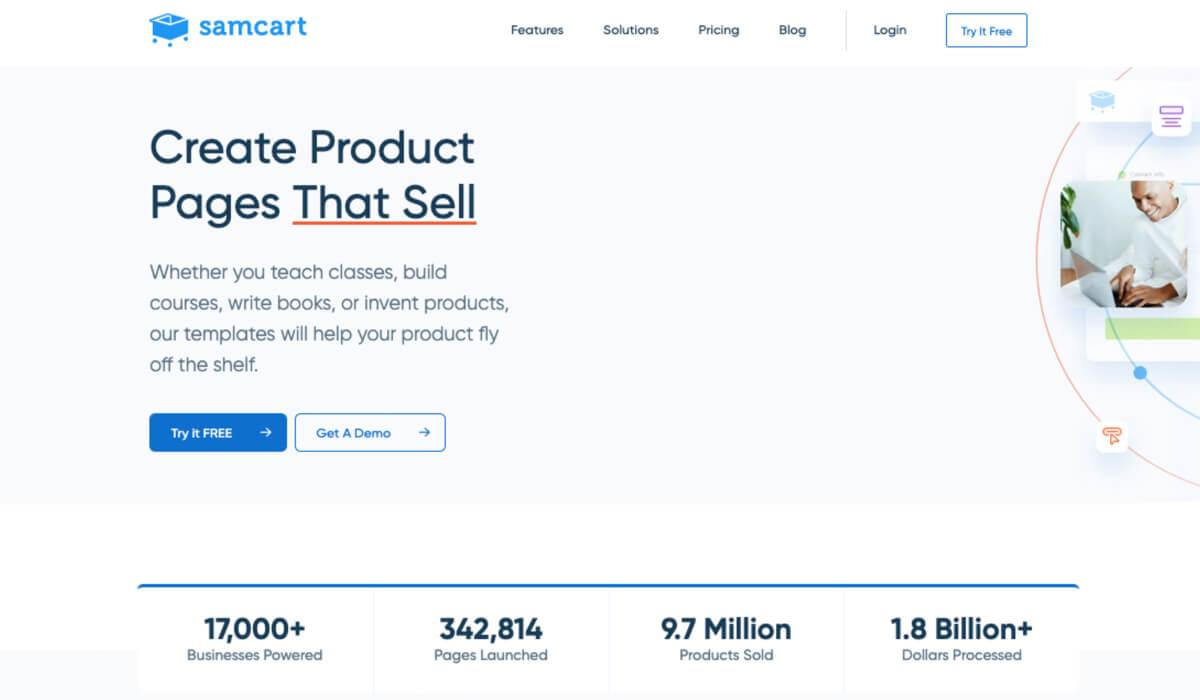 SamCart landing page